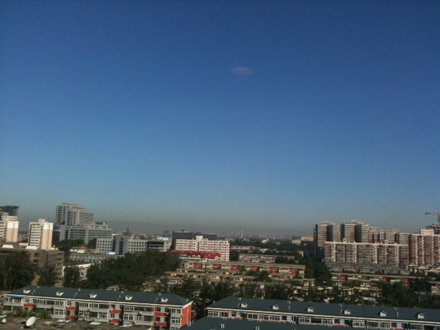 北京より山が見える。